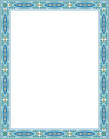 Tiled ornate border frame, Colored