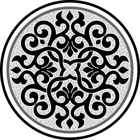 Garnished circle design, Grayscale Illustration