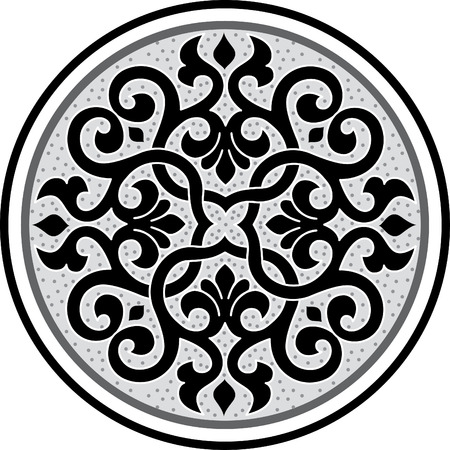 Garnished circle design, Grayscale Vector