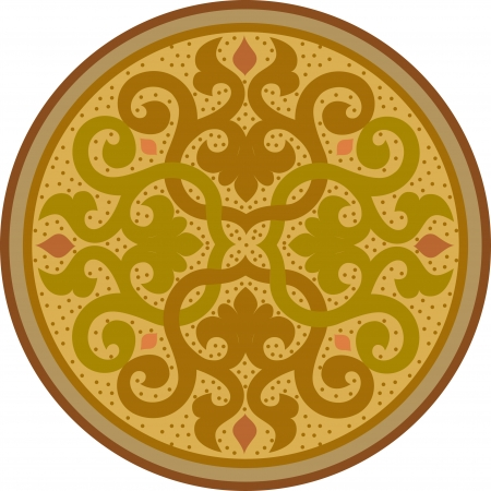 Garnished circle design, Colored Vector