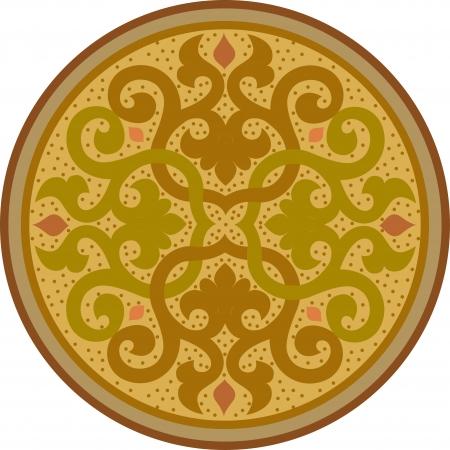 Garnished circle design, Colored Illustration