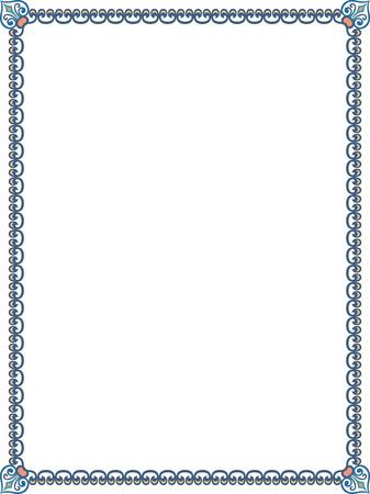 cenefas decorativas: Frontera marco ornamentado de azulejos, de color Vectores