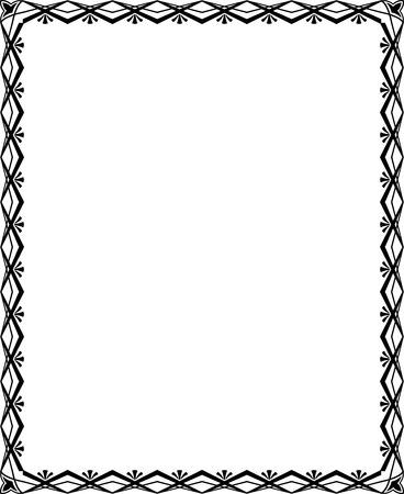 Tiled ornate border frame, Monochrome Vector