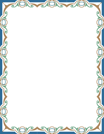 Betegelde overladen grens frame, Gekleurde