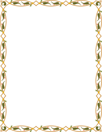 Tiled ornate border frame, Colored