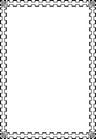 Tiled ornate border frame, Monochrome Vector