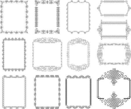 書道のデザイン要素やページ装飾のベクトルを設定  イラスト・ベクター素材