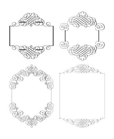 カリグラフィのデザイン要素やページ装飾のベクトルを設定  イラスト・ベクター素材