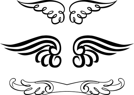 Set of Calligraphic Design Elements, Wings shape Vector