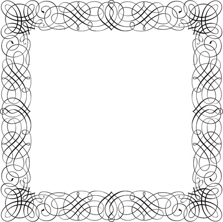 Calligraphic Vector Design Border, Square Shape Vector
