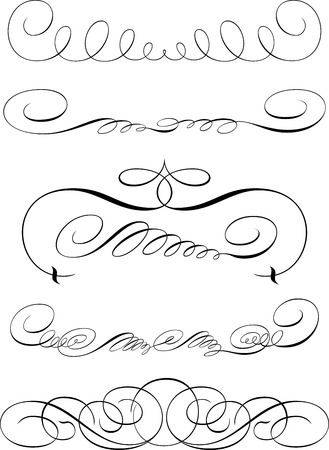 Set of Calligraphic Design Elements and Page Decoration Illustration
