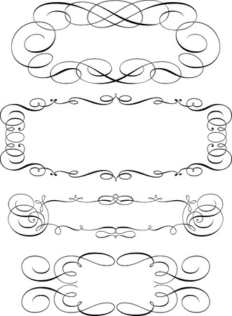 Set of Calligraphic Design Elements and Page Decoration Illusztráció
