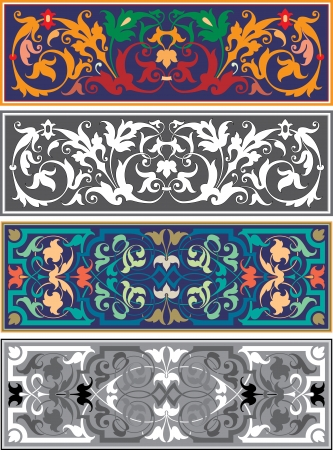 Set of oriental ribbons and page decoration  Vector