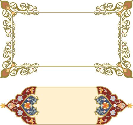 Set van oosterse sierlijke en pagina decoratie