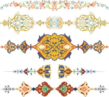 page decoration: Set van oosterse sierlijke en pagina decoratie