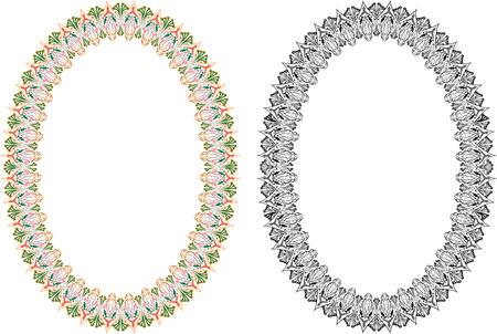Oriental oval frame  Illustration