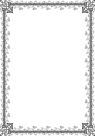 Border frame with beautiful decorative corners, in editable vector file, Black and White Vector