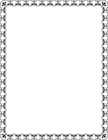 Ornamental border frame, in editable vector file, Black and White Vector