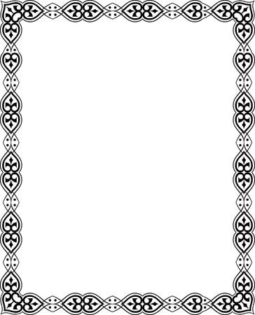 Beautiful ornate border frame, in editable vector file, Black and White Vector