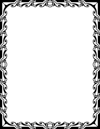 Ornamental border frame, in editable vector file, Black and White Vector