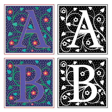 English alphabets with flowers and plant leaves, Letter A and B Vector