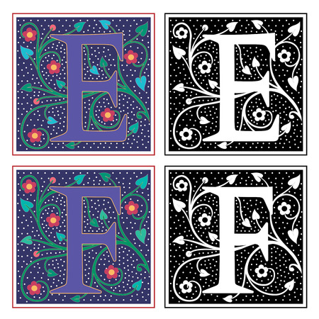 ornate background: English alphabets with flowers and plant leaves, Letter E and F Illustration