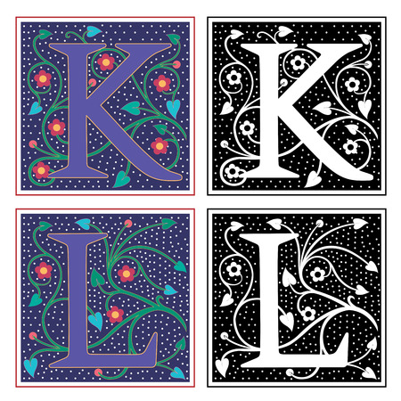 English alphabets with flowers and plant leaves, Letter K and L Vector