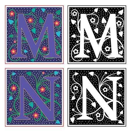 English alphabets with flowers and plant leaves, Letter M and N Vector
