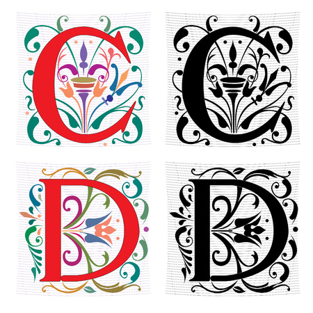 initial: Beautiful decoration English alphabets, letter C and D
