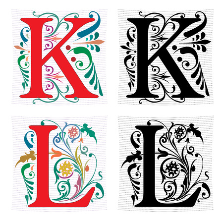 Beautiful decoration English alphabets, letter K and L Vector