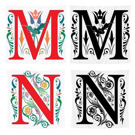 Beautiful decoration English alphabets, letter M and N