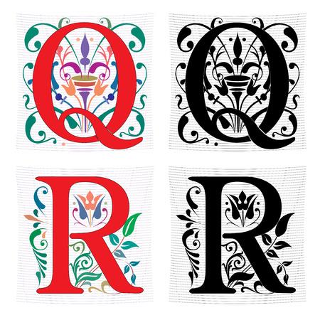 Hermosa decoración alfabeto inglés, la letra Q y R