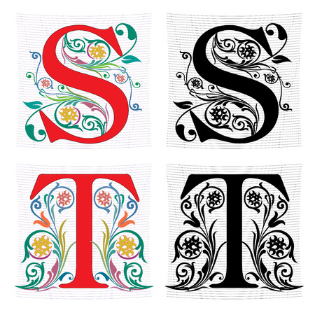 english: Beautiful decoration English alphabets, letter S and T
