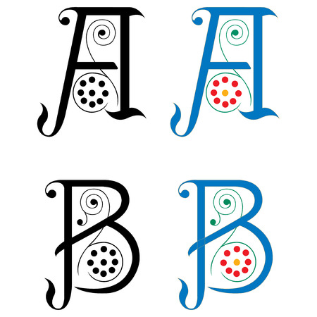 Spring style, basic decoration English alphabets, letter A and B
