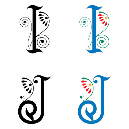 Spring style, basic decoration English alphabets, letter I and J Vector