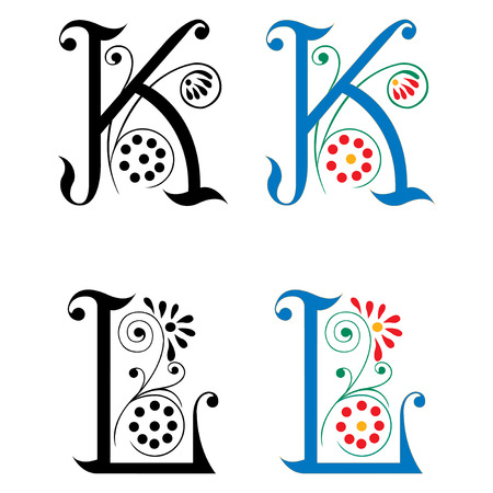 volute: Spring style, basic decoration English alphabets, letter K and L Illustration