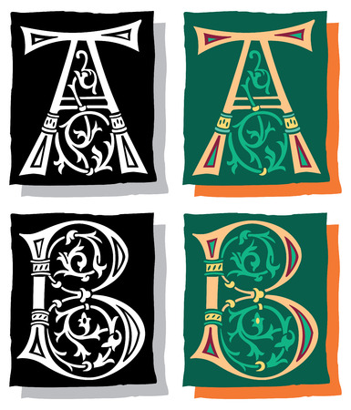 mono color: Medieval style English alphabet letters, A and B, mono and color