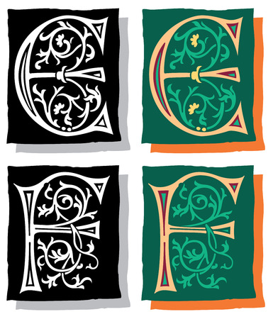 Medieval style English alphabet letters, E and F, mono and color Vector