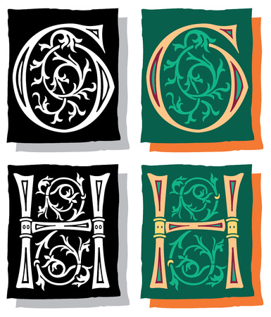 Medieval style English alphabet letters, G and H, mono and color Vector