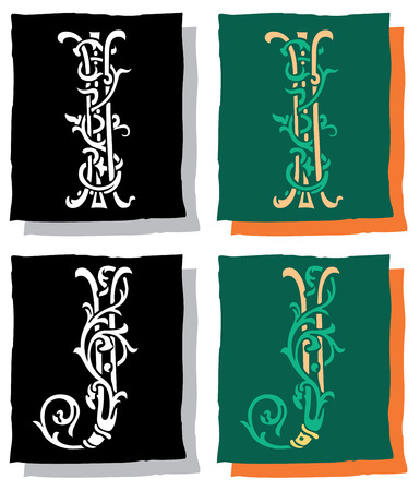 Medieval style English alphabet letters, I and J, mono and color Vector