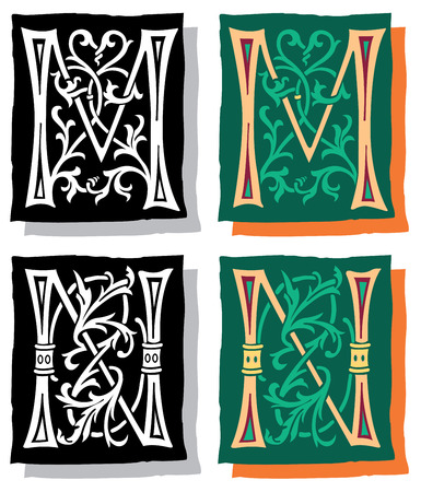 Medieval style English alphabet letters, M and N, mono and color Vector