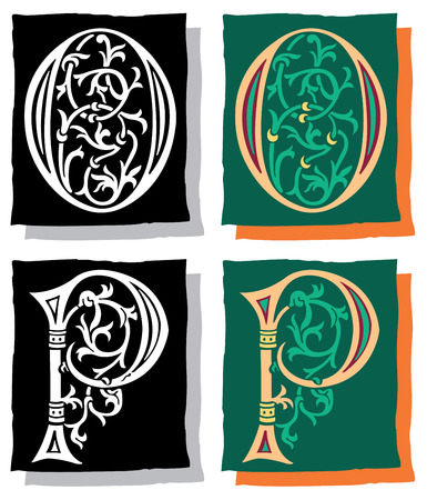 Medieval style English alphabet letters, O and P, mono and color Vector