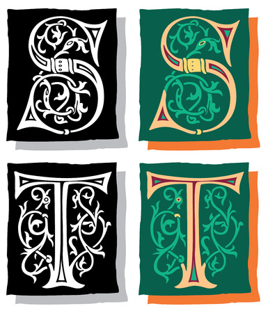 Medieval style English alphabet letters, S and T, mono and color Vector
