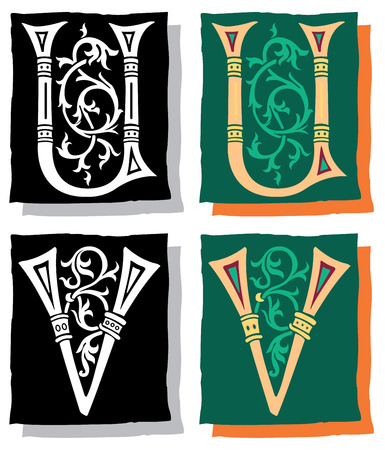 Medieval style English alphabet letters, U and V, mono and color Vector