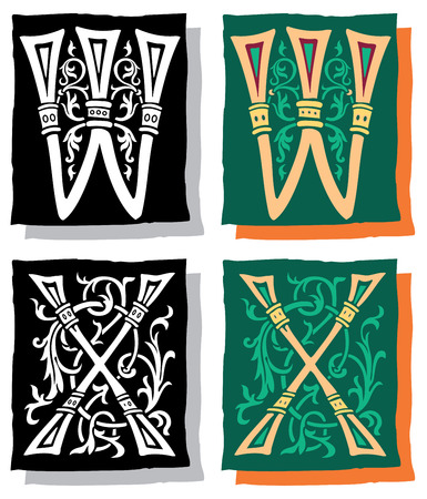 Medieval style English alphabet letters, W and X, mono and color Vector