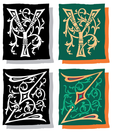 Medieval style English alphabet letters, Y and Z, mono and color Vector