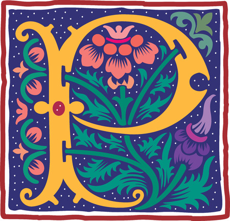 English alphabet with flowers decoration, colorful letter P Vector