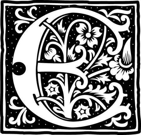 English alphabet with flowers decoration, monochrome letter E