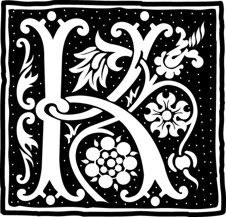 English alphabet with flowers decoration, monochrome letter K Vector