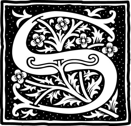Alfabeto inglese con decorazione floreale, la lettera in bianco e nero S